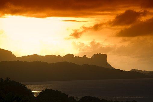 Palu, Micronesia, Sunset, Sky, Clouds, Mountains, Sea
