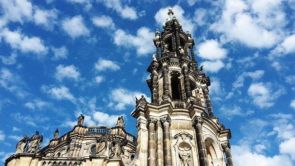 Dresden, Frauenkriche, Church, Sky, Clouds, Steeple