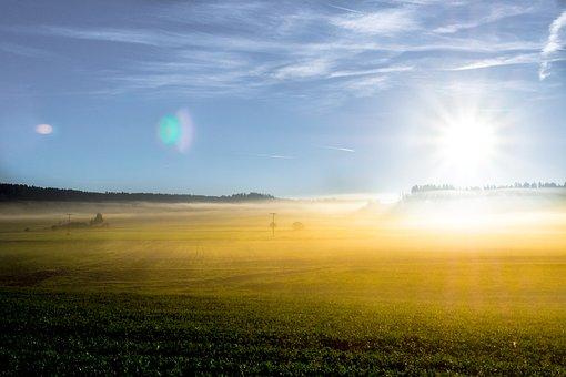 Sunrise, Herbstnebel, Sky, Morning, Clouds, Background
