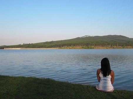 Dagama Dam, Lowveld, Water, Dam, Girl, Blue, Forest