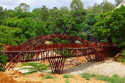 Bridge, Wooden, Pyramid Valley, Karnataka, India