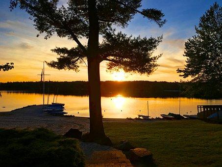 Beach, Sunset, Lake, Lake Naomi, Poconos, Evening