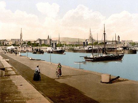 Port, Dublin, City, Ships, Kingstown, Photochrom, 1895