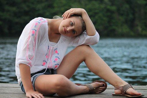 Girl, Portrait, Outdoors, Pretty, Posing, Sitting, Lake