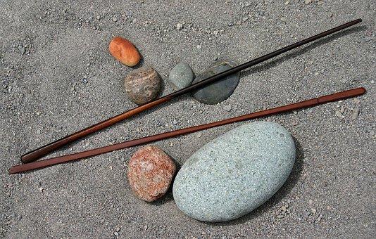 Rocks, Sticks, Wood, Art, River, Sand, Beach, Brown
