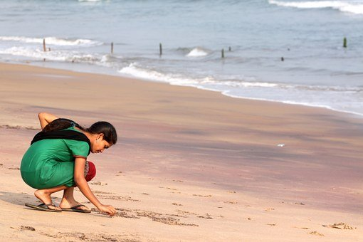 Girl, India, Beach, Sand, Ocean, Waves, Water, Writing