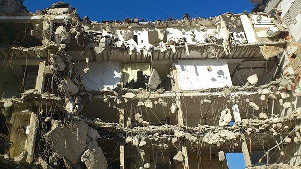 Crash, Demolition, Site, House, Floors, Composition