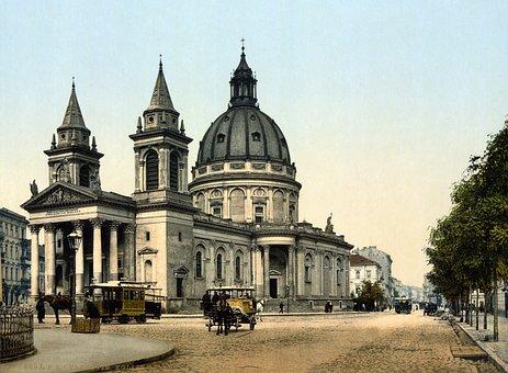 Church, St Alexander Church, Warsaw, Photochrom, Coach