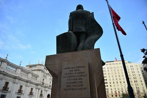 Statue, Salvador Allende, Last Words, Sky, Blue