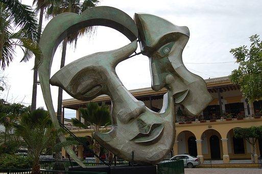 Two Face, Statue, Artwork, Mexico, Mazatlan, Park