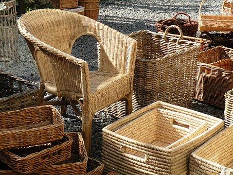 Wicker, Baskets, Wicker Chair, Basket-chair, Furniture
