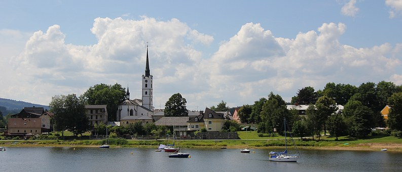 Frymburk, City, Countryside, Summer, Lipno, Water