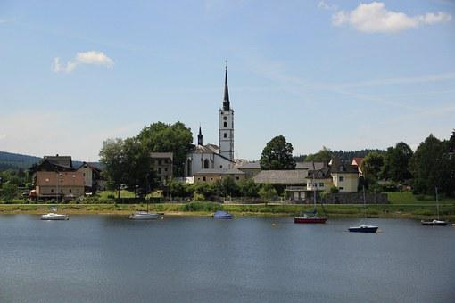 Frymburk, Lipno, Dam, Water, Church, Ship, Recreation
