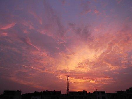 North Sea, Sunset, Iron Stand, Sky
