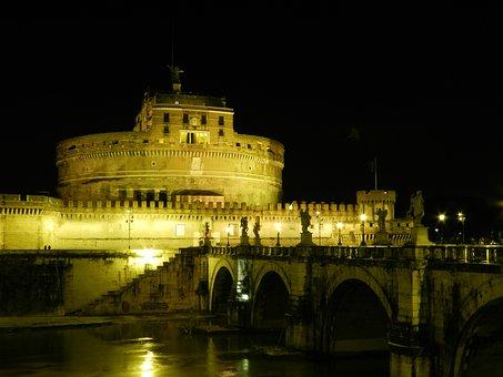 Castle, San Angelo, Tiber River, Night
