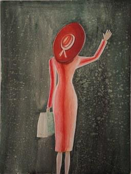 Farewell, Woman With Suitcase, She Waves
