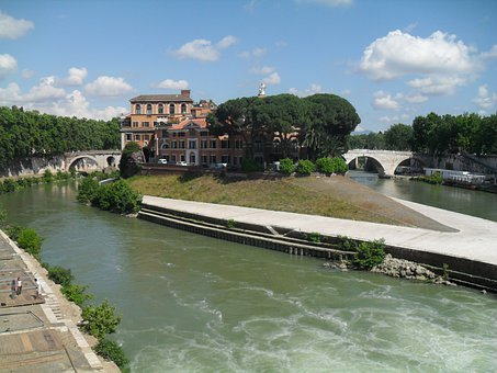 Rome, Italy, Fatebenefratelli, Hospital, Island, Tiber
