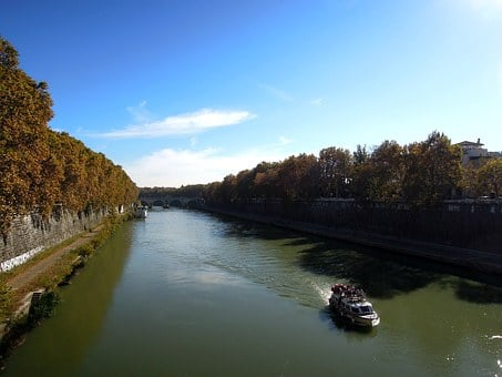 Rome, Boat, Cruise, Water, River, Tiber, Beach, Nature