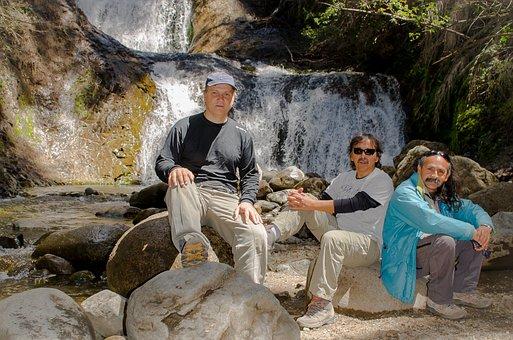 Waterfall, People, Bariloche, Patagonia, Nature, Water
