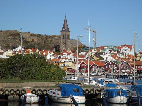 Cityscape, Church, Fjällbacka, Badholmen