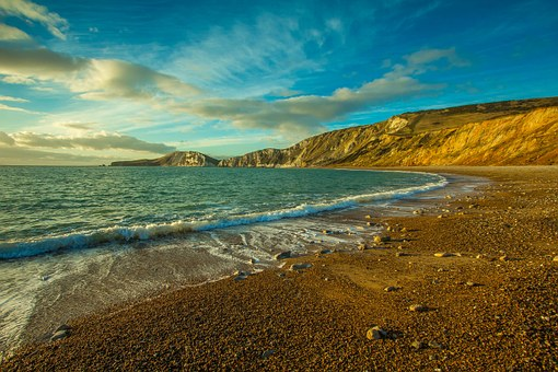 Ocean, Worbarrow Bay, England, Dorset, Beach, Waves