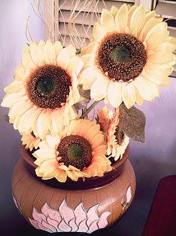 Sunflower, Flowers, Artificial, Flower, Petals