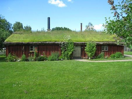 House, Lawn, Flowers, Grass Roofs, Sky, Cloud, Sweden