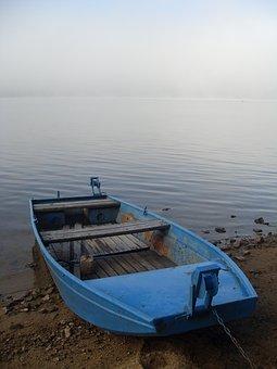 Ship, Blue, Lake, Lipno, Fog