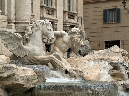 Fountain, Rome, Italy, Triton, Winged, Stallion, Horse