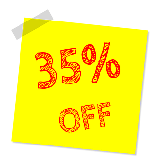 Thirty Five Percent Off, Discount, Sale, Offer