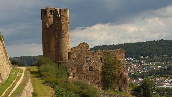 Ruin, Bingen, Historically, Towers, Old, Castle