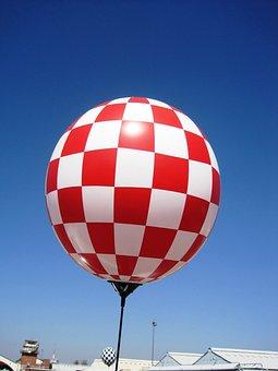 Balloon, Checkered, Red, White, Blocks, Pattern