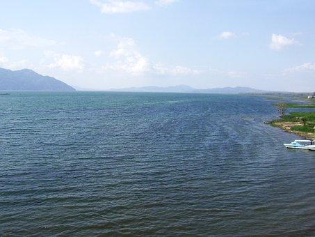 Lake, Horizon, Boat, Yojoa