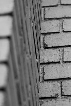 Wall, Brick, Black And White, Corner, Rows, Repetition