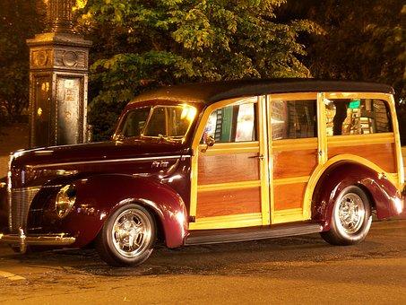 Woody, Van, Truck, Car, Vintage Car, Vintage Cars