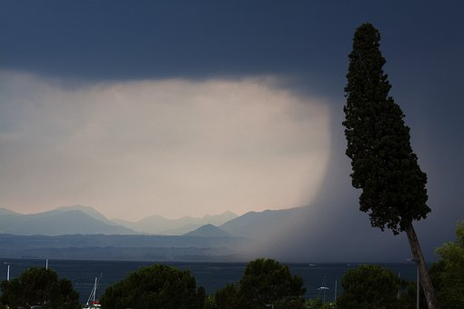 Storm, Lake, Mountains, Forward, Rain, Regenwand