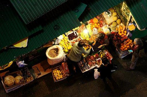 Life, Night, Market, Fruit, Character, Hong Kong