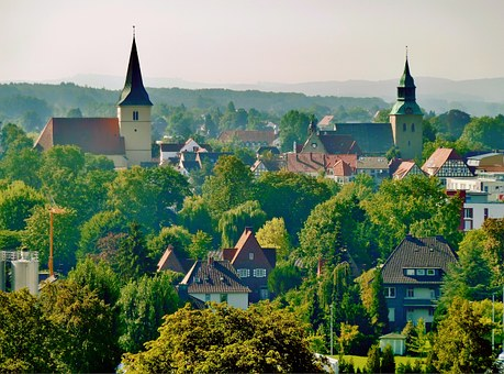 Melle, Germany, Village, Town, Mountains, Churches