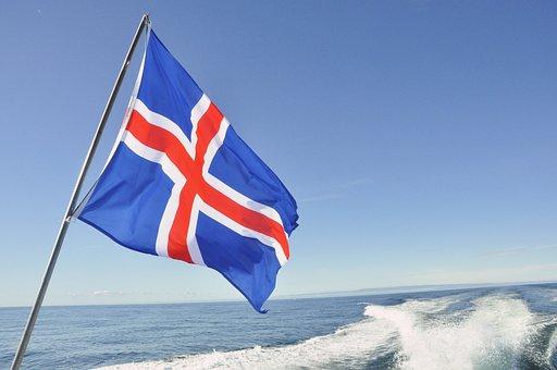 Iceland, Flag, Sea, Sky, Blue, Ship