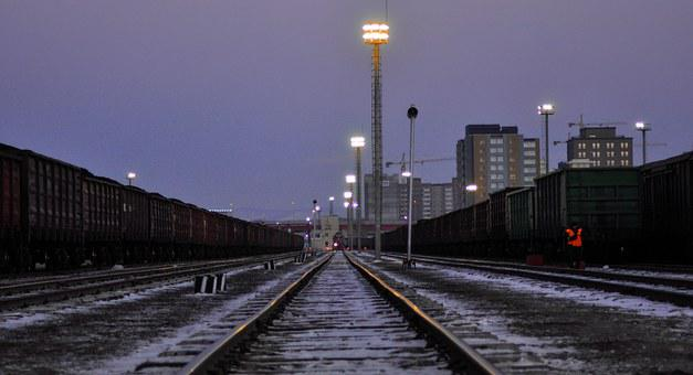 Train, Station, Railways, Night, Light, Ulaanbaatar