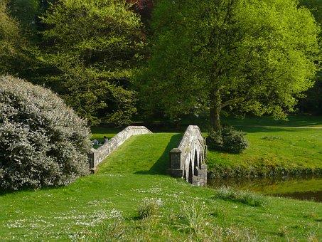 Stourhead Garden, Bridge, Lawn, Green, Park, England