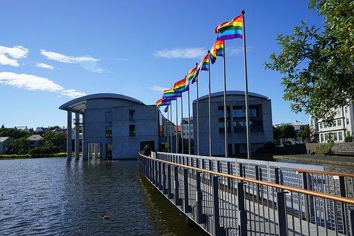 Flags, Town Hall, Bridge Reykjavik, Iceland