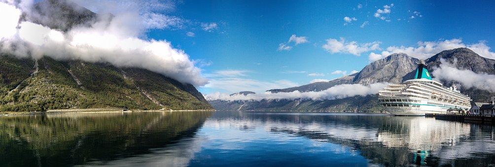 Panorama, Boat, Mountain, Water, Landscape