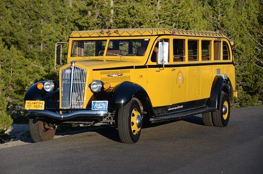 Bus, Yellowstone, Jammer, National Park, Wyoming