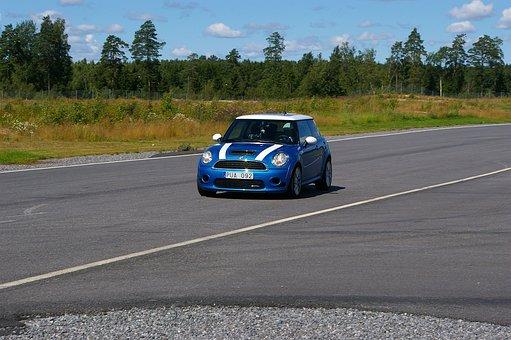 Minicooper, Blue, Car, Quick, Sports