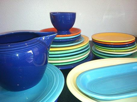 Dishes, Colorful, Fiestaware, Plate, Blue