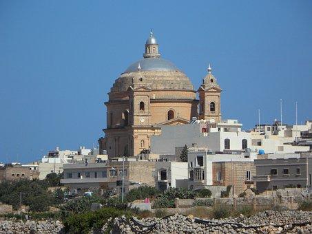 Church, Dome, Malta, Church Dome, Mgarr, Architecture