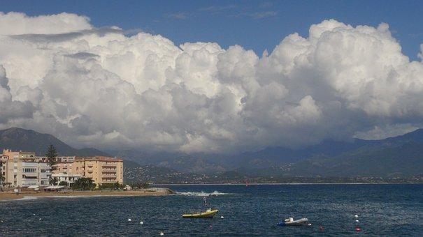 Corsican, Ajaccio, Cloud, Beach, France, Holiday, Sea