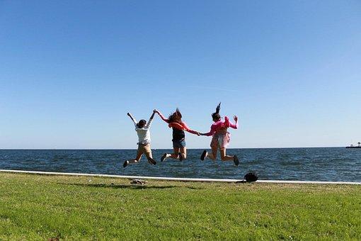 Jump, Girls, Happy, Joy, Summer