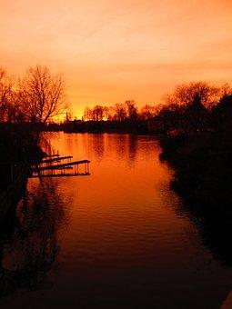 Sunset, Köpenick, Afterglow, Frauentog, Orange